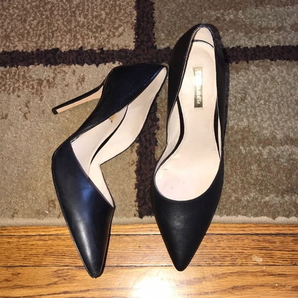 Louise et Cie Shoes - Louise EXT Cie Leather/Snake high heel Black Pumps